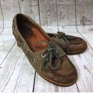 Lucky Brand Green Cailin Boat Shoes Womens 6.5